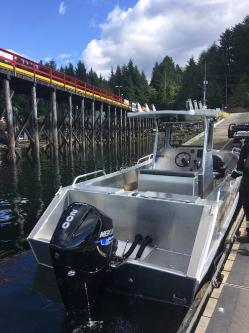 Docked boat with Mercury outboard engine